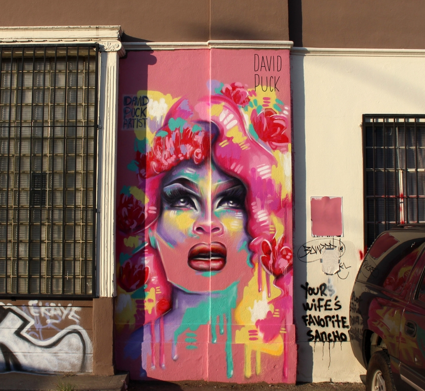 Street art mural of drag queen Miss Vanjie, by David Puck, in Los Angeles California