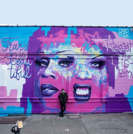 Street Art Mural of Drag Queen and Trans Activist Peppermint in Brooklyn, New York City for World Pride