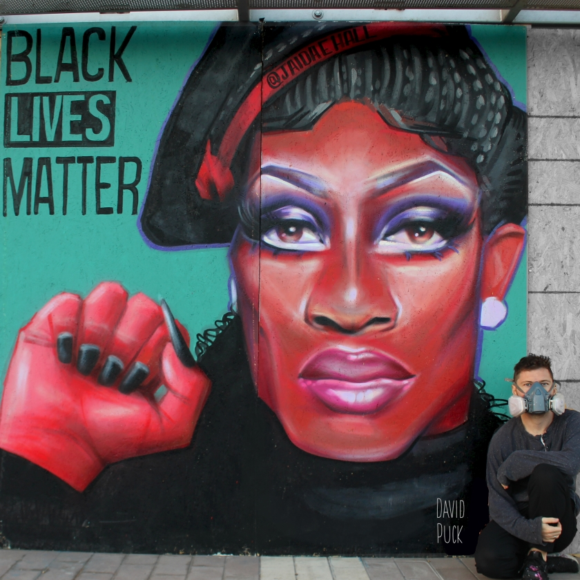 queer Street art mural of drag queen Jaida Essence Hall and Black Lives Matter, by David Puck, in Los Angeles, California