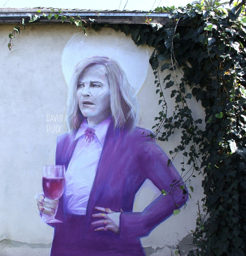 queer Street art mural of Catherine O'Hara from Schitts Creek Moira Rose, by David Puck, in Los Angeles California