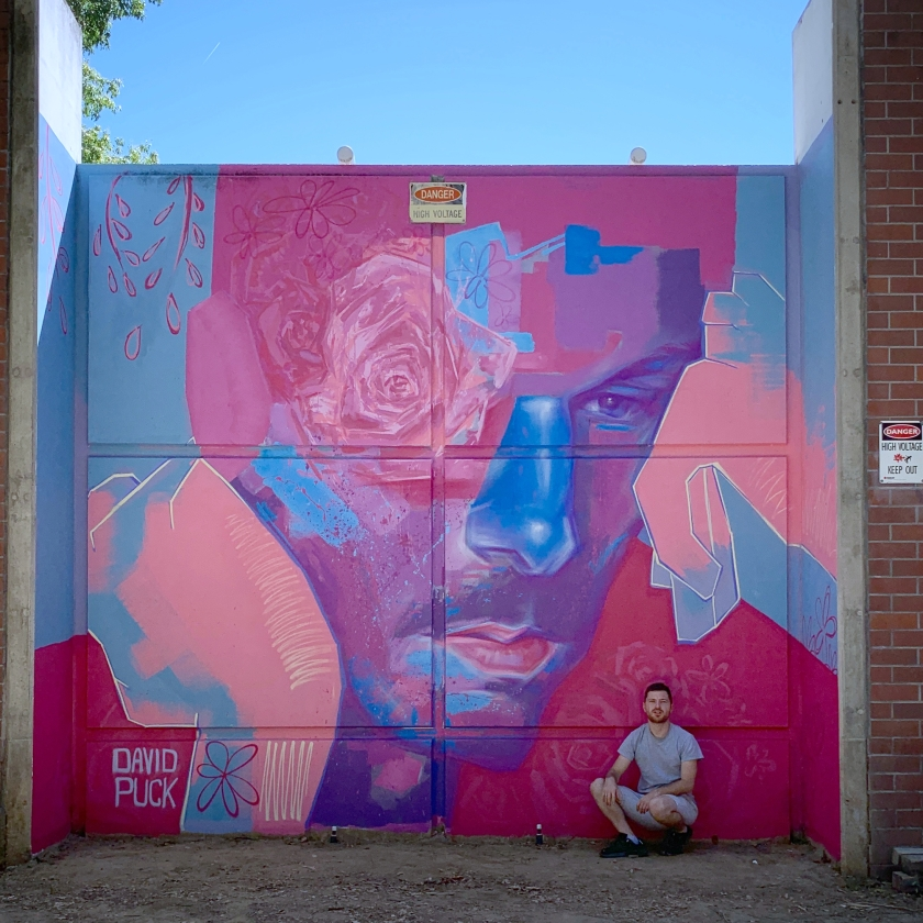 Street art mural by David Puck, about mental health awareness in Sacramento California for Wide Open Walls