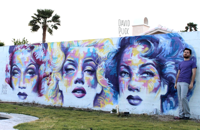 Street art mural in Palm Springs California by David Puck of Marilyn Monroe, Elizabeth Taylor and Marlene Dietrich