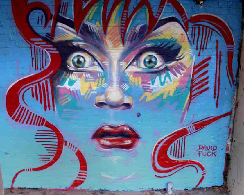 queer Street art mural of drag queen Ben de la creme Bendela creme by David Puck, in California