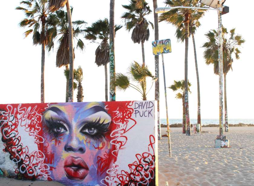 queer Street art mural of drag queen Mayhem Miller by David Puck, in Los Angeles California