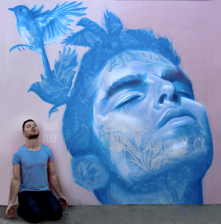 queer Street art mural of Guille R Mocco, by David Puck, in Los Angeles California