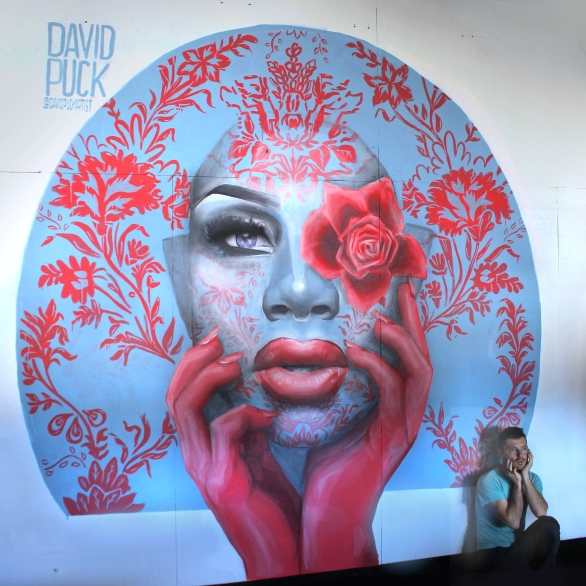 Street art mural painting of drag queen monet xchange in los angeles california