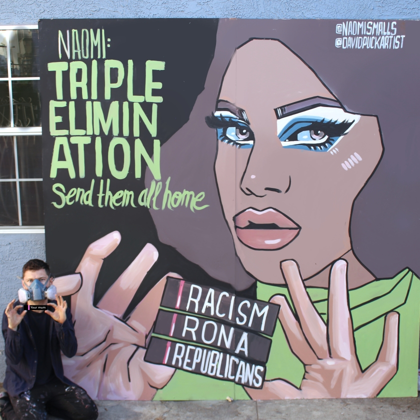 queer Street art mural of drag queen Naomi Smalls, by David Puck, in Los Angeles California
