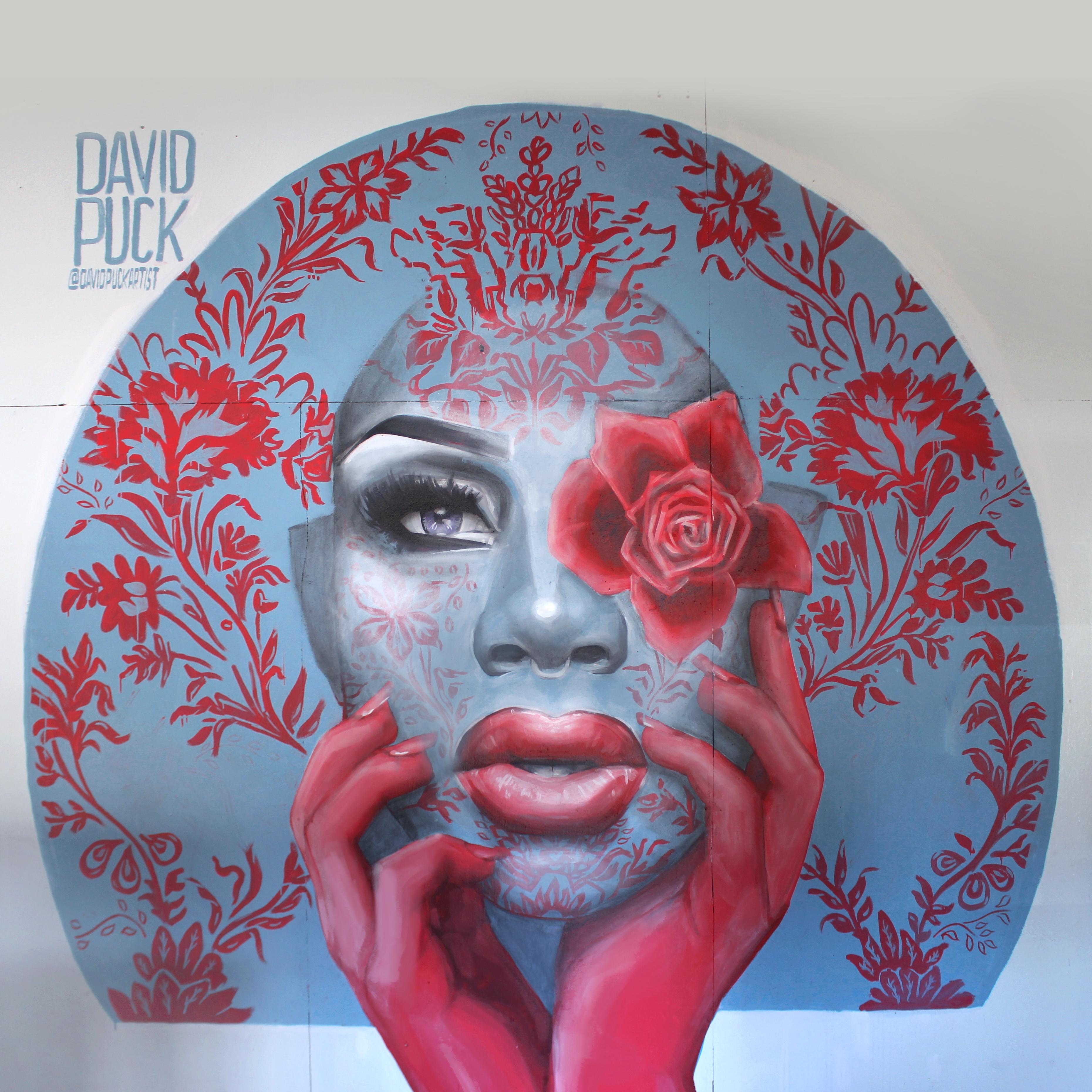 Street art mural painting of drag queen monet xchange in Los Angeles California
