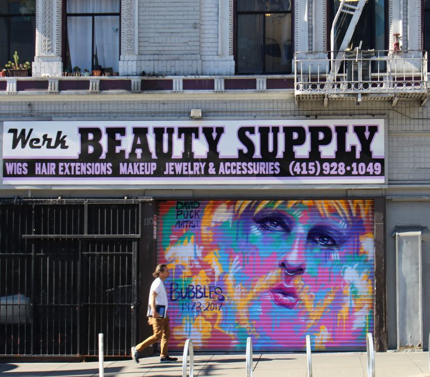 queer Street art mural of trans activist Bubbles by David Puck, in San Francisco California