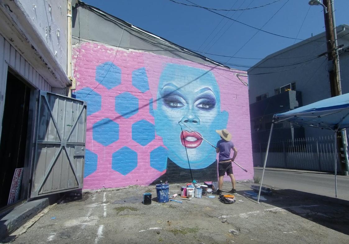 ru paul drag queen street art mural los angeles north hollywood