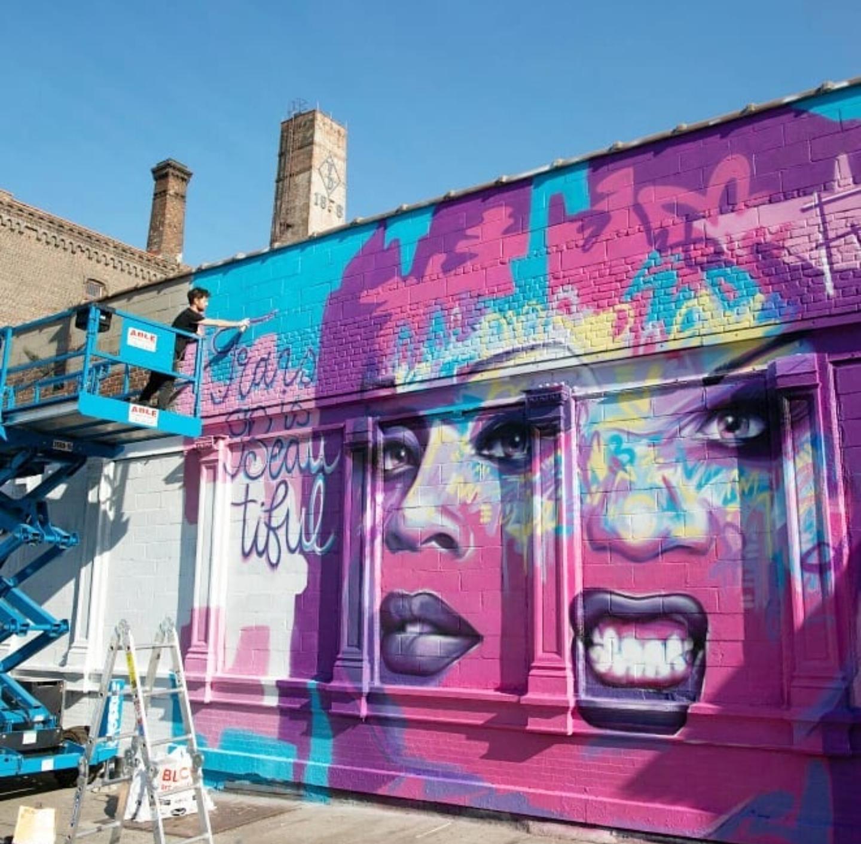 drag queen mural of peppermint work in progress