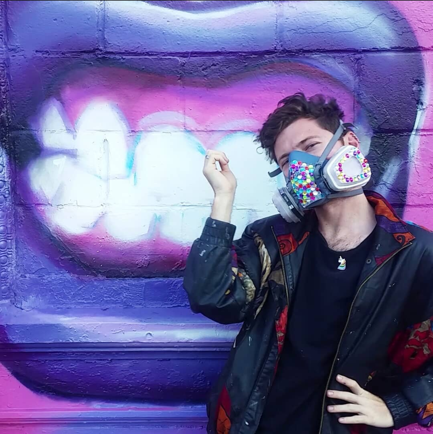 rhinestoned spray paint mask queer